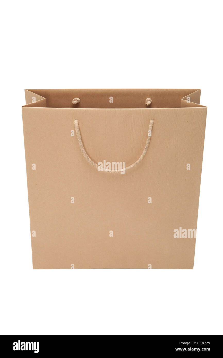 brown paper bag isolated on white background - Stock Image