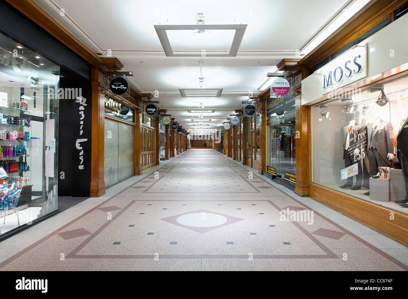The Royal Exchange shopping arcade located between Cross Street and St Ann's Square in Manchester. - Stock Image