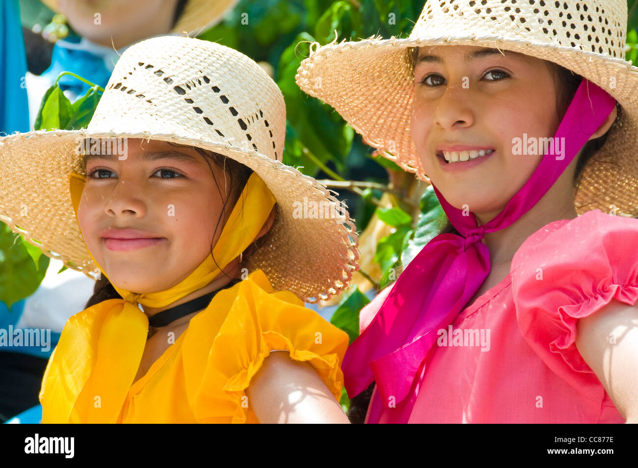 Costa Rica girls during the independence parade - Stock Image