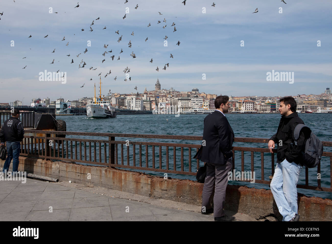 Waterfront along the Golden Horn - Istanbul, Turkey - Stock Image