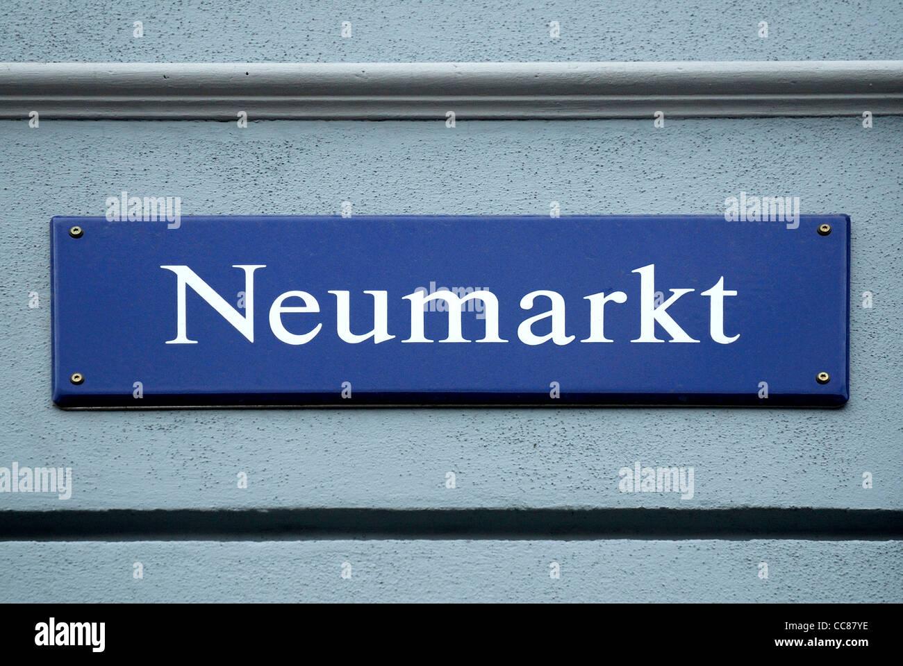 Street sign of the Neumarkt in Dresden. Stock Photo