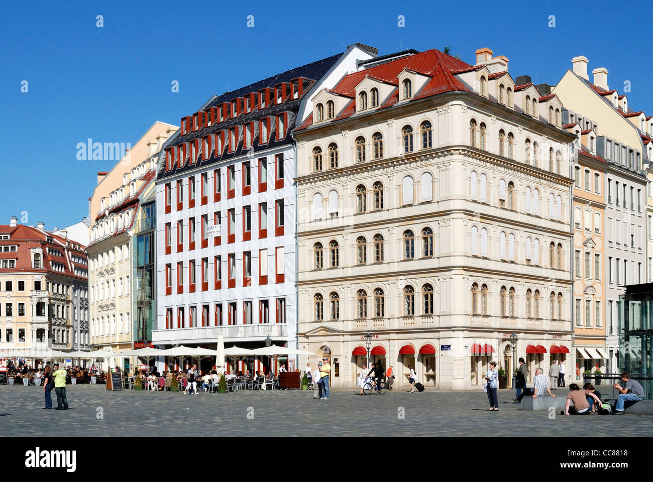 Town houses at the square Neumarkt in Dresden near Church of our Lady. - Stock Image