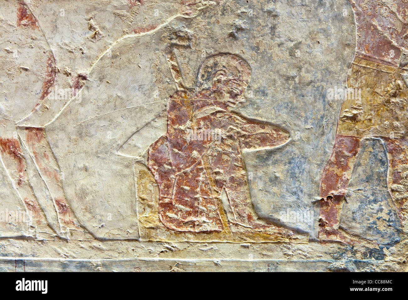 Reliefs in the Middle Kingdom tomb of Senbi Son of Ykh Hotep at Meir , North West of Asyut in Middle Egypt - Stock Image