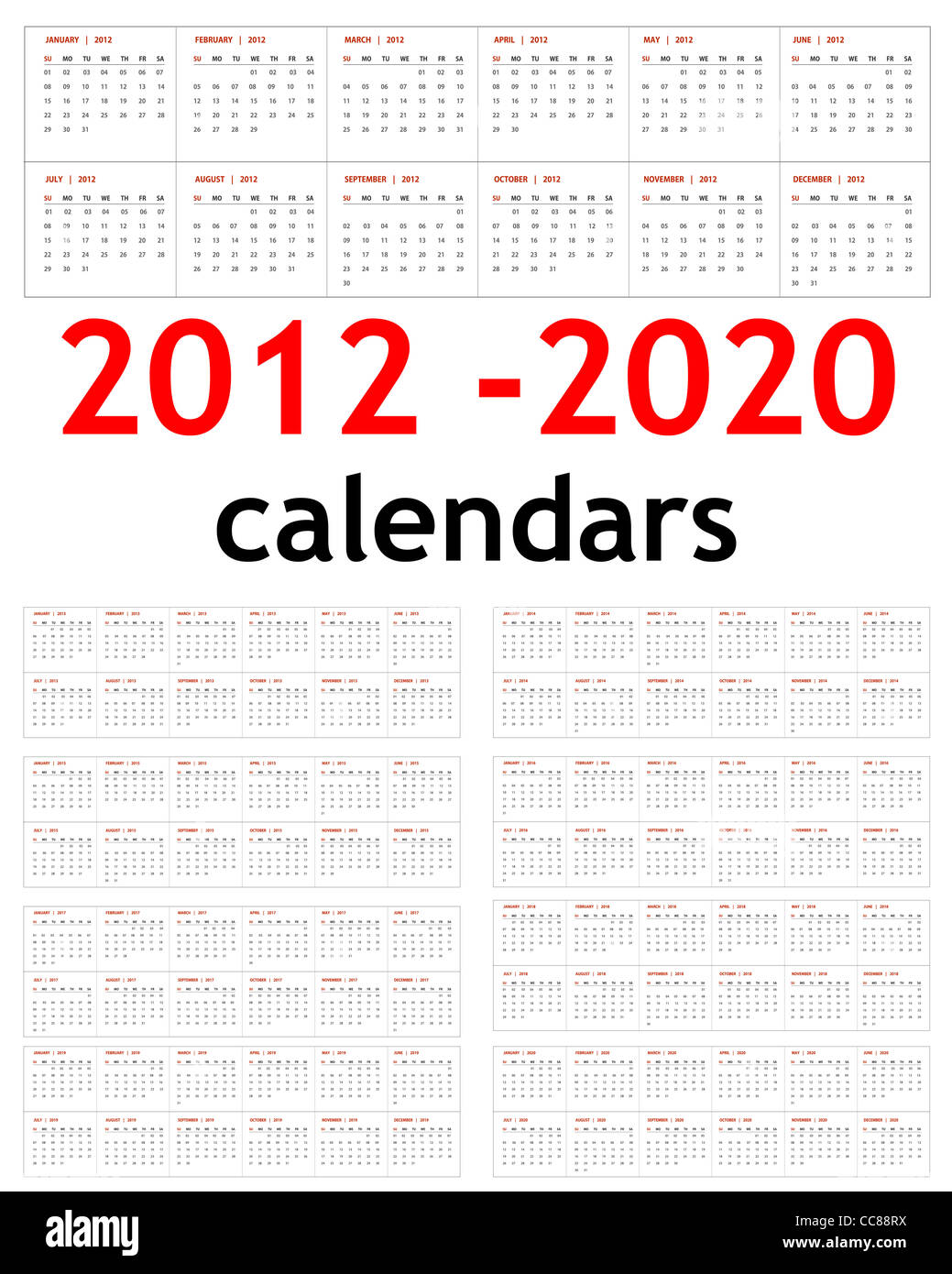 2013 And 2014 And 2020 Calendar New year 2012, 2013, 2014, 2015, 2016, 2017, 2018, 2019, 2020