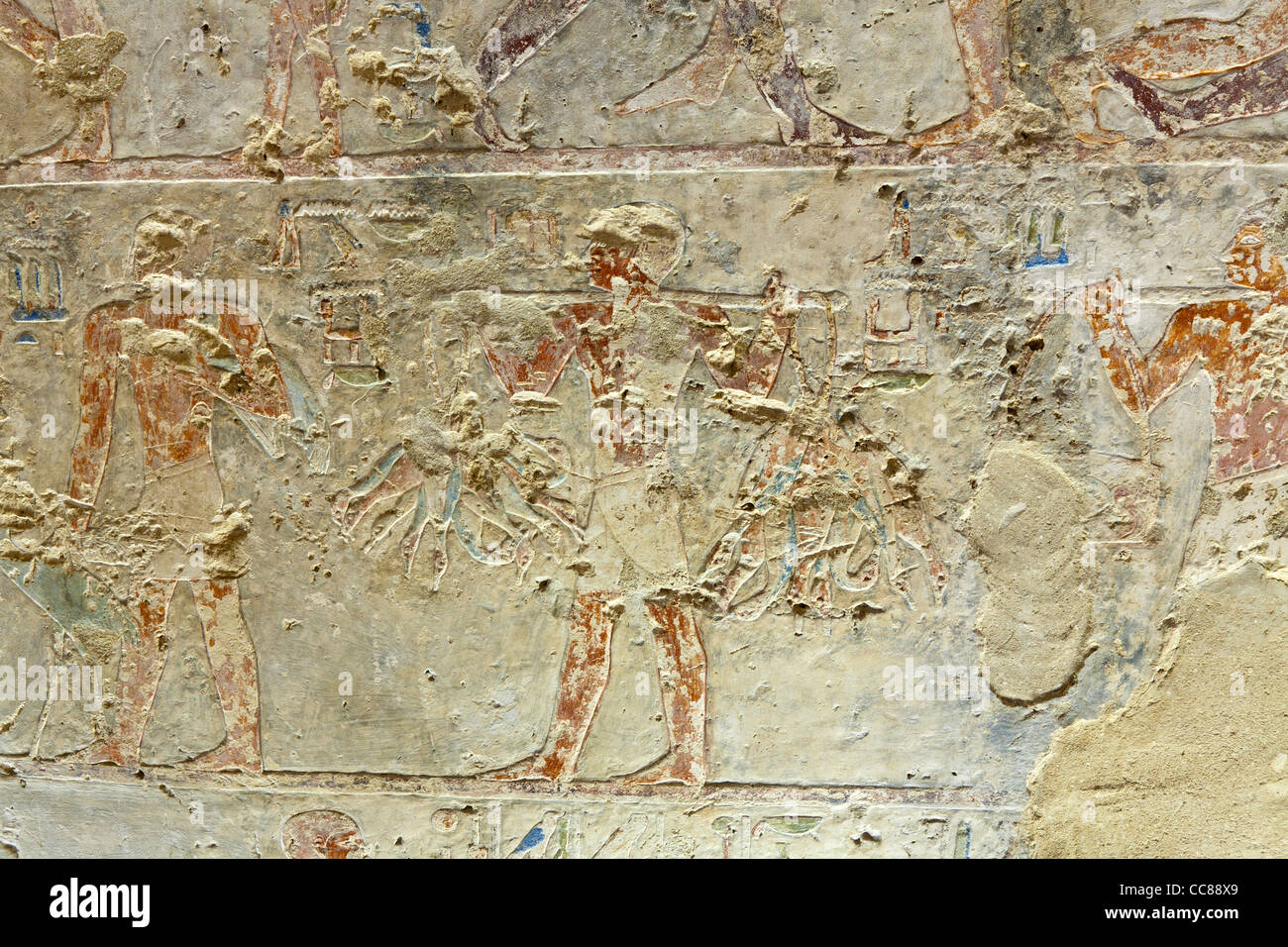 Reliefs in the Middle Kingdom tomb of Senbi Son of Ukh Hotep at Meir , North West of Asyut in Middle Egypt - Stock Image