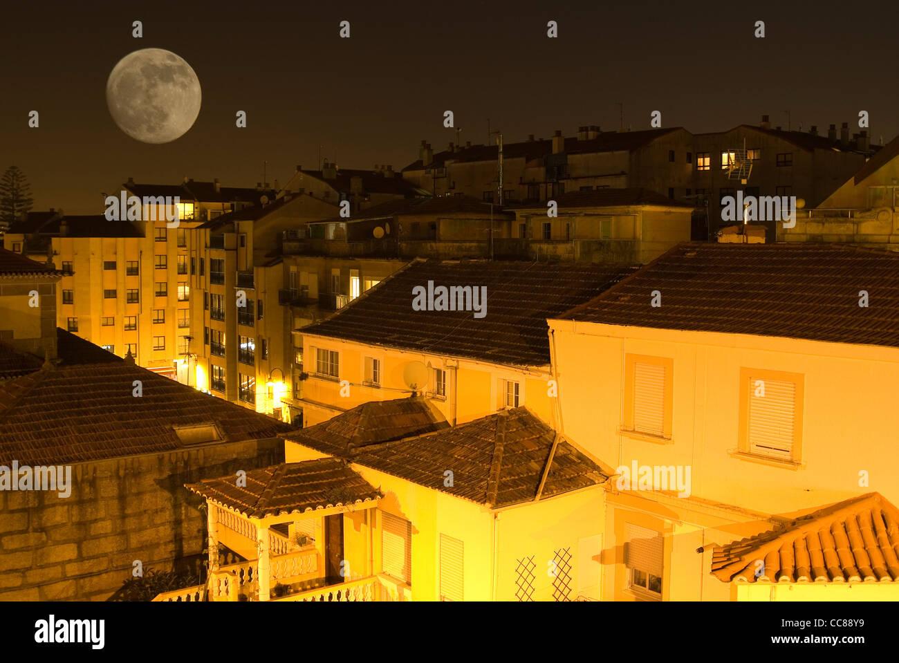 Full Moon over Bouzas. Vigo, Galicia, Spain - Stock Image