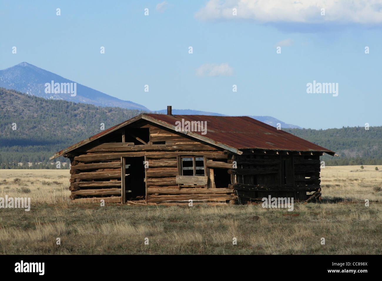 rundown old log cabin in field in northern Arizona - Stock Image