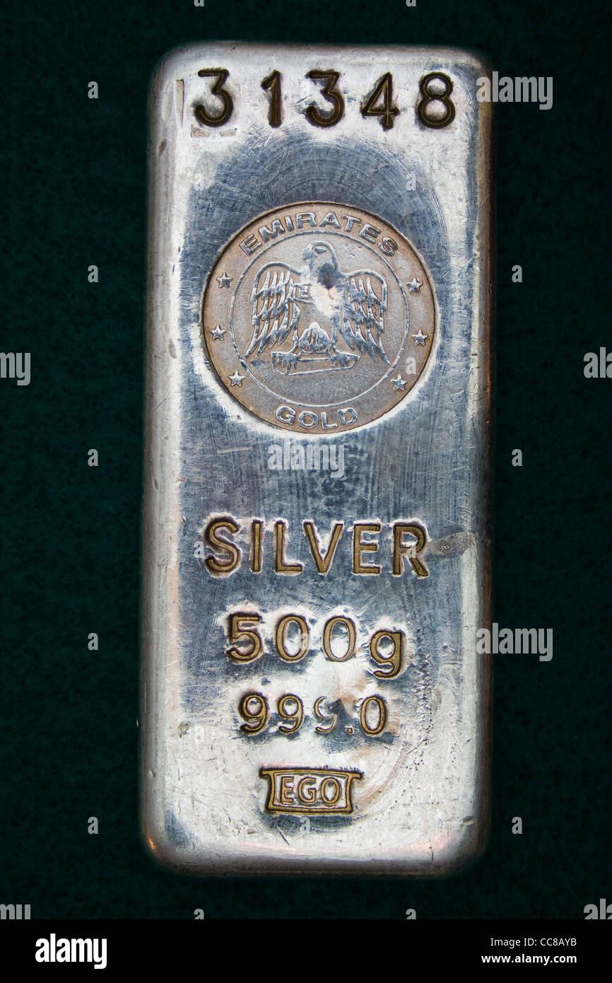 United Arab Emirates 500 Gram Silver Bar (Ingot) - Stock Image