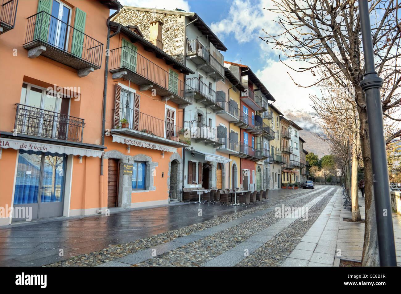 Promenade of Cannobio, Verbania, Piedmont, Italy in winter - Stock Image