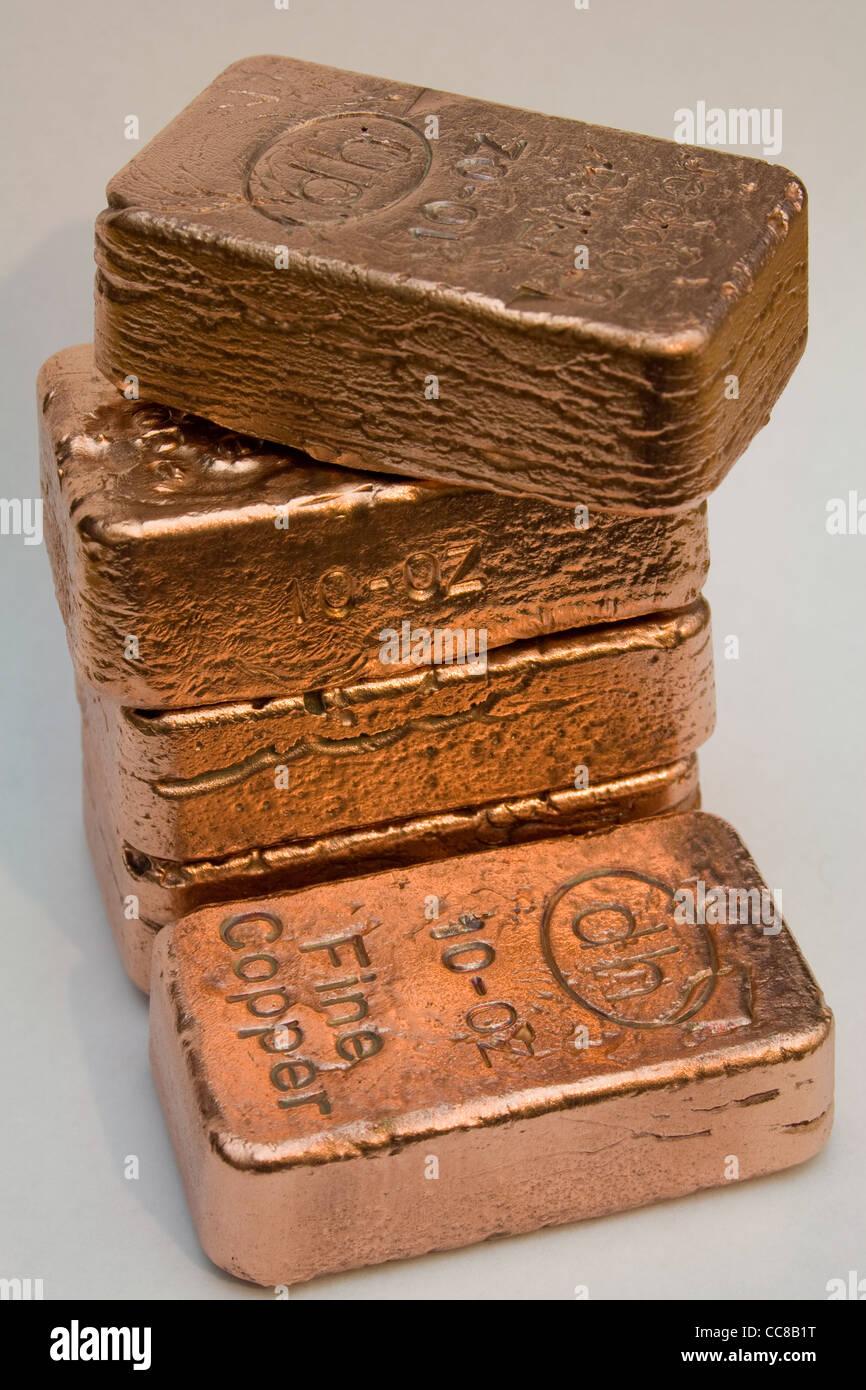 Pure Copper Bullion Bars (Ingots) - Stock Image