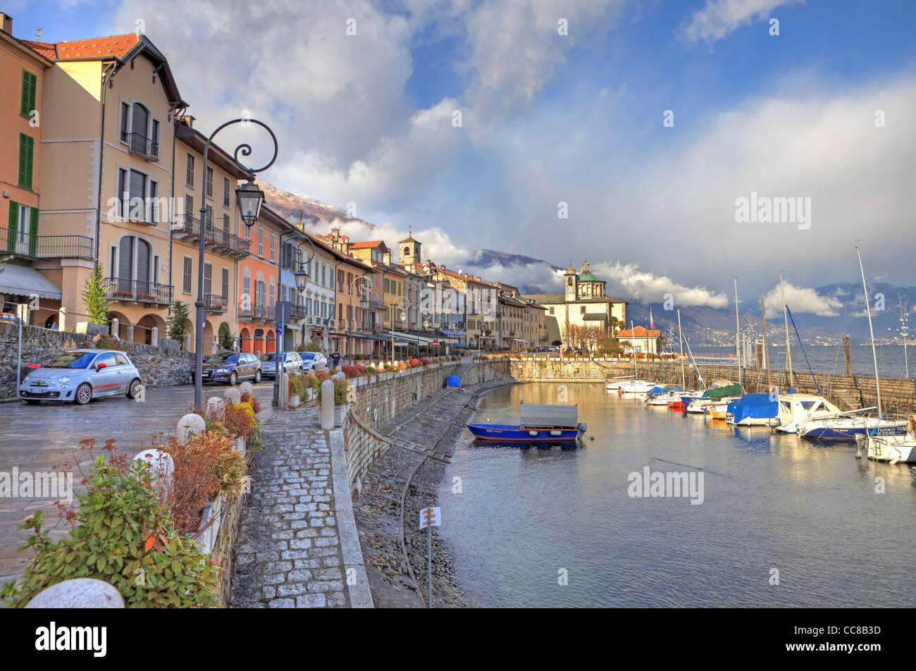 Waterfront and harbor of Cannobio, Verbania, Piedmont, Italy, Europe - Stock Image