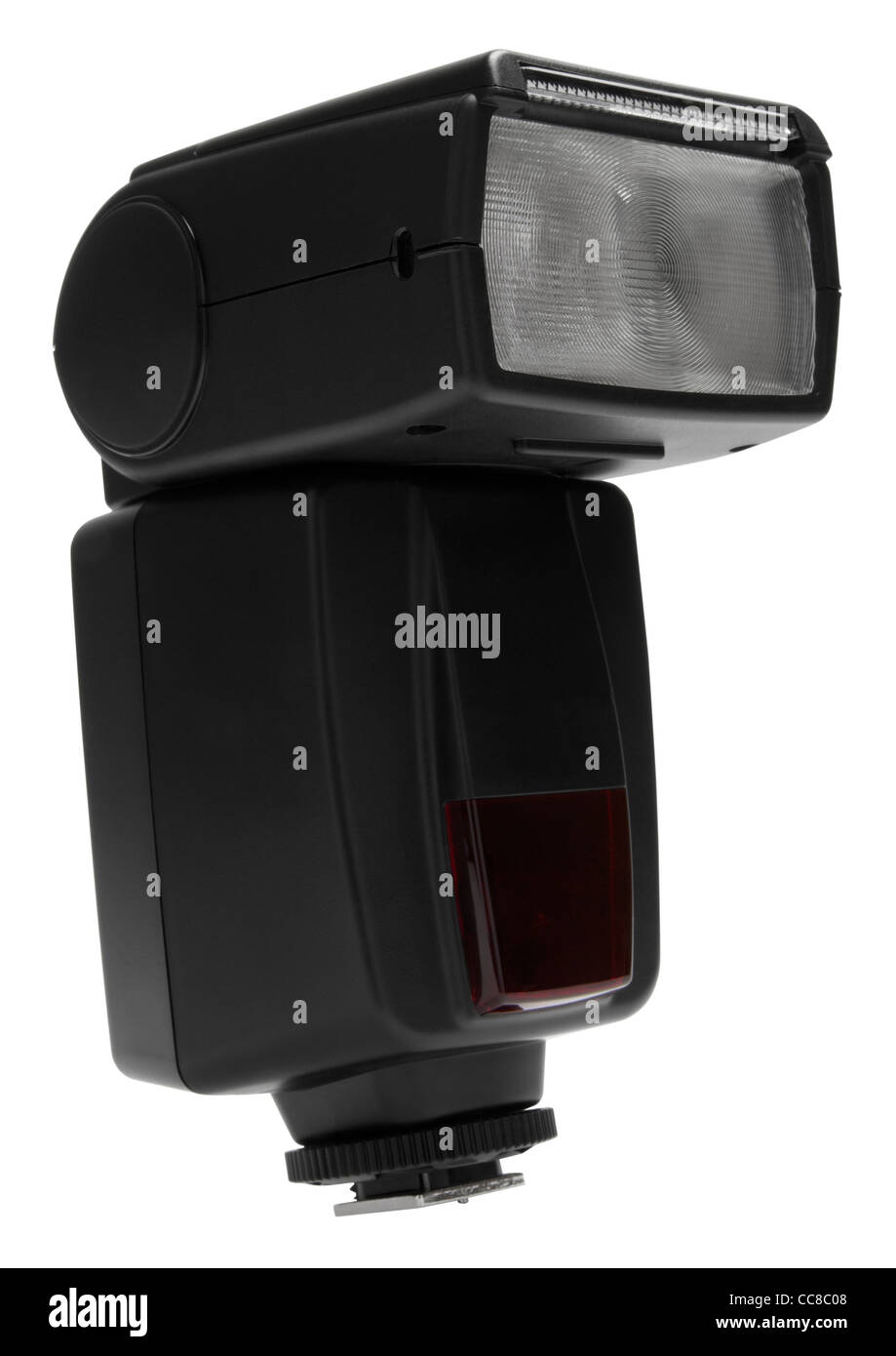 Camera flash speedlite strobe on white background - Stock Image