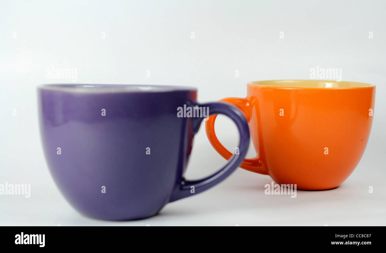 two porcelain cups - Stock Image