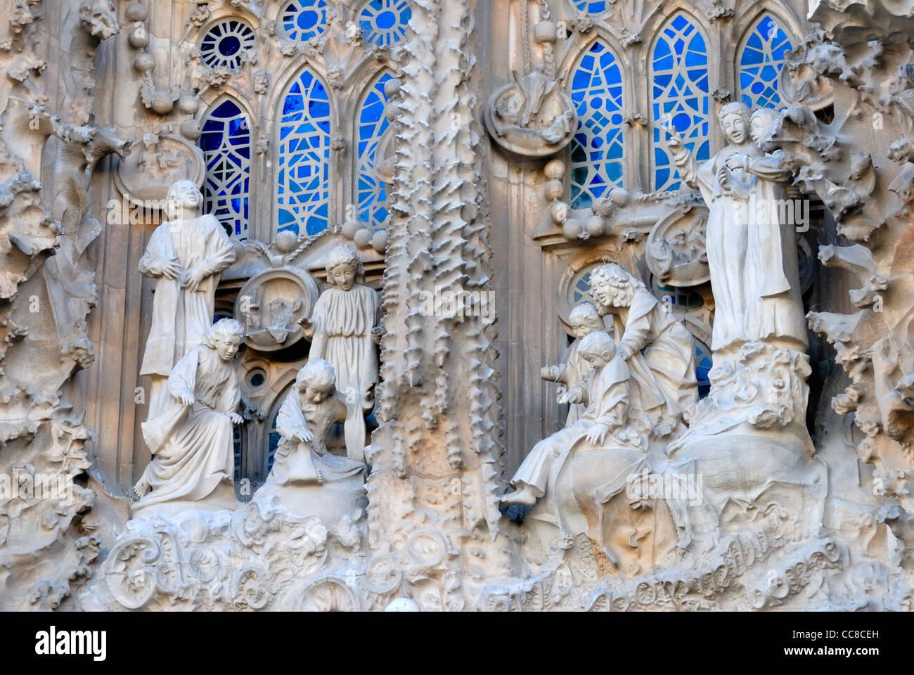 Temple De La Sagrada Familia (Antoni Gaudi; Begun 1882, Still Unfinished)  Detail Of Eastern Or Nativity Facade