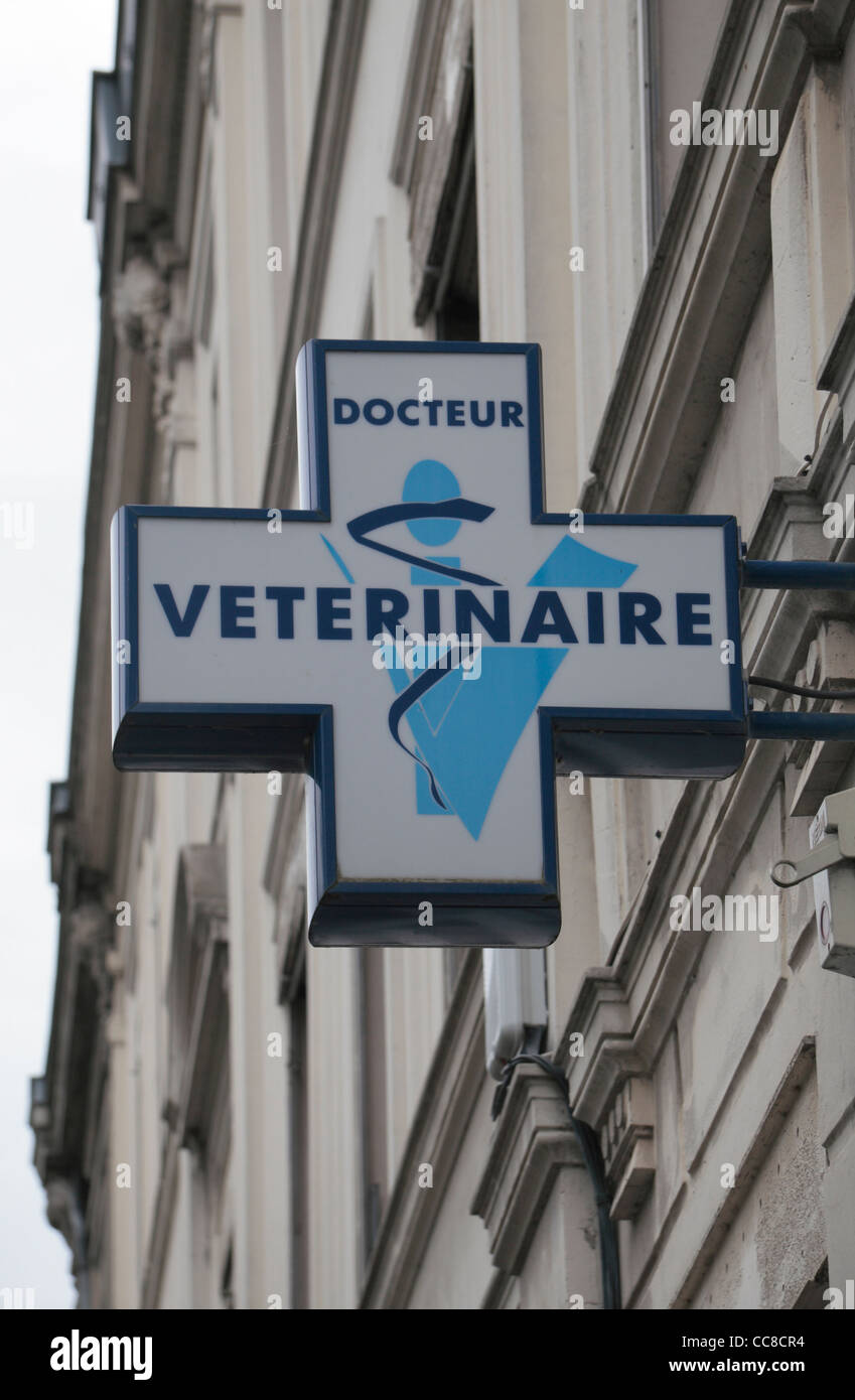 The generic sign above a veterinary surgery in France.  This sign was in Arras, Pas-de-Calais, France. - Stock Image