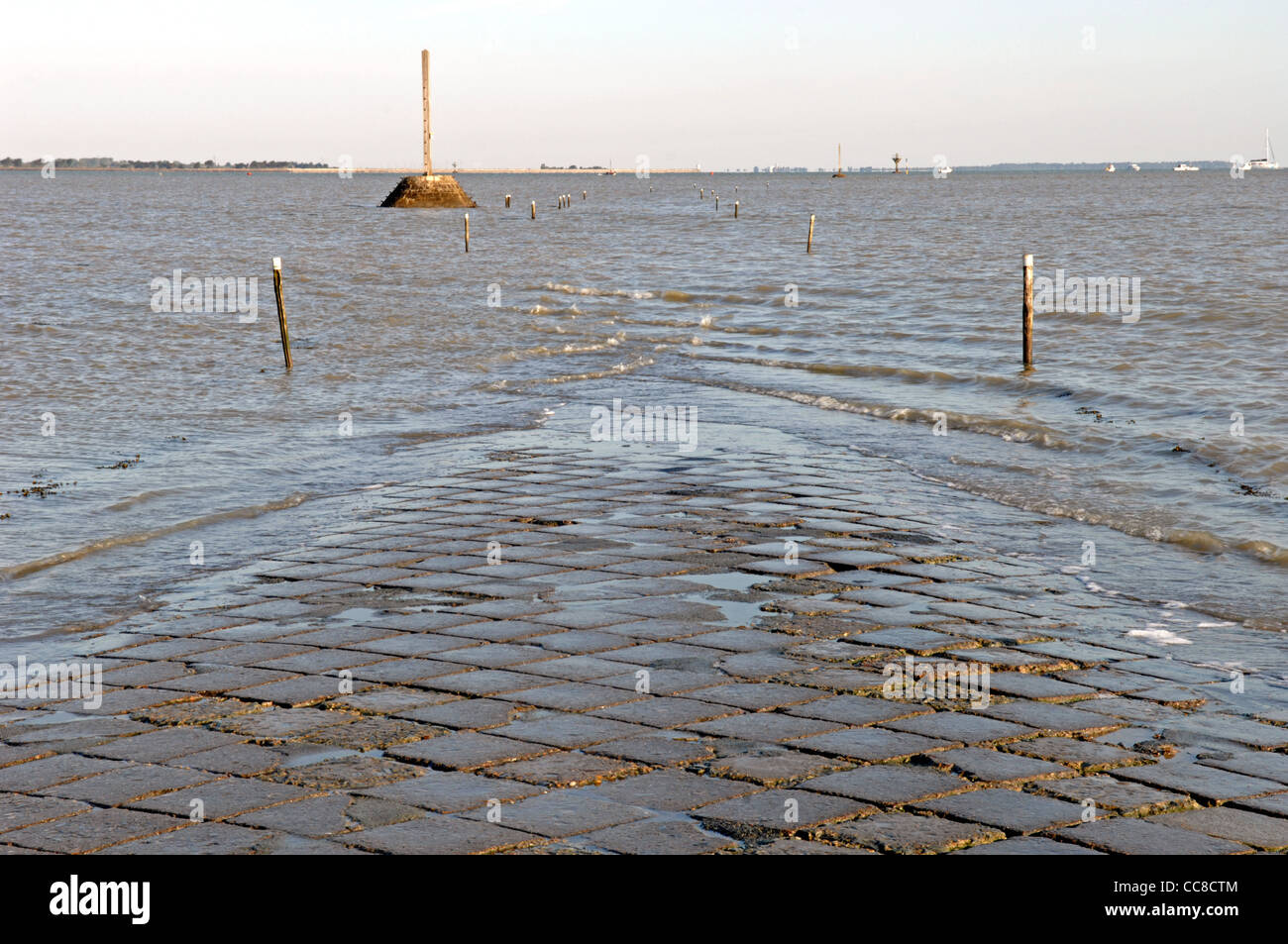 Submerged Passage du Gois from the mainland to the Ile de Noirmoutier in the Vendee (85) departement of France - Stock Image