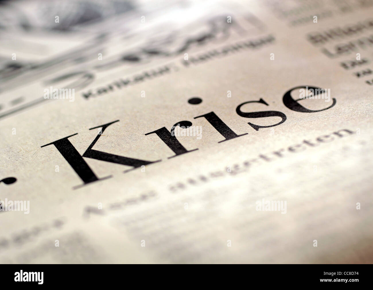 Big headline crisis in German business newspaper 2009 - Stock Image