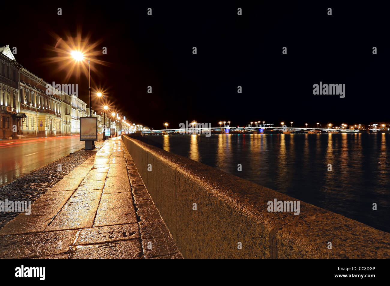 Night view of the Neva River and the historic buildings on its banks - Stock Image