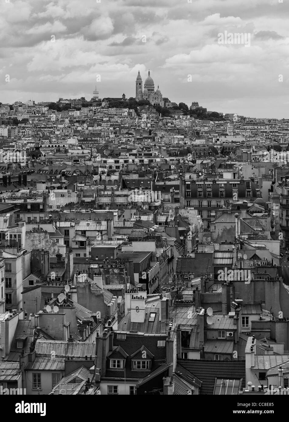 View of Montmartre and the Basilica of the Sacre Coeur in black and white - Stock Image