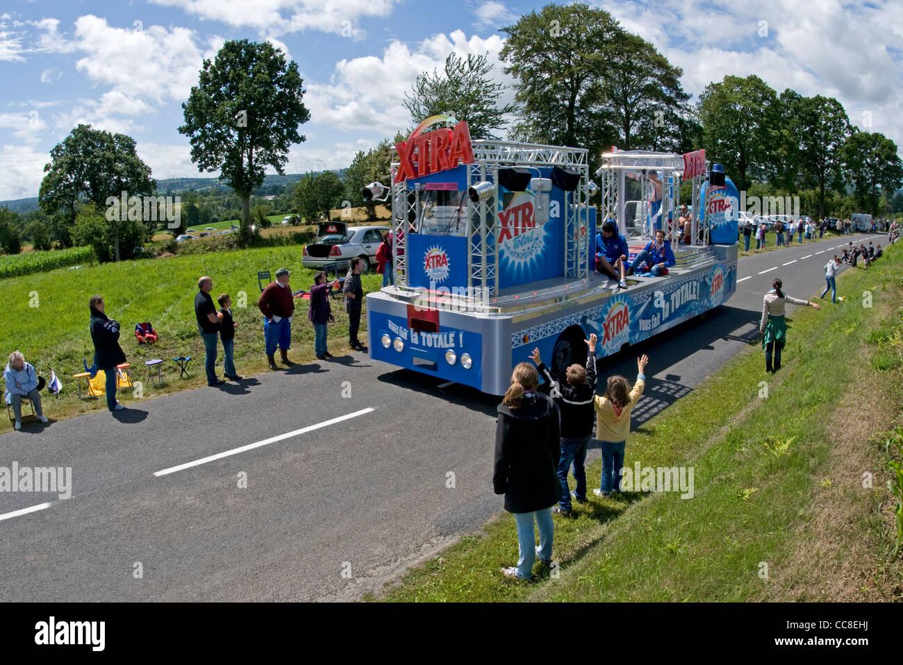 Publicity caravan of the Tour de France near Vire in the Calvados (14) departement of France - Stock Image