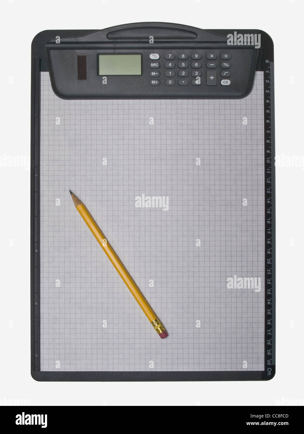 a clipboard with a pocket calculator and a sheet of paper, a pen is on it - Stock Image