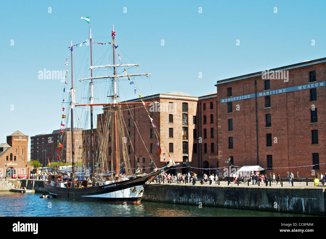 Historic sailing ship OOSTERSCHILDE moored in Canning Dock, Liverpool, - Stock Image