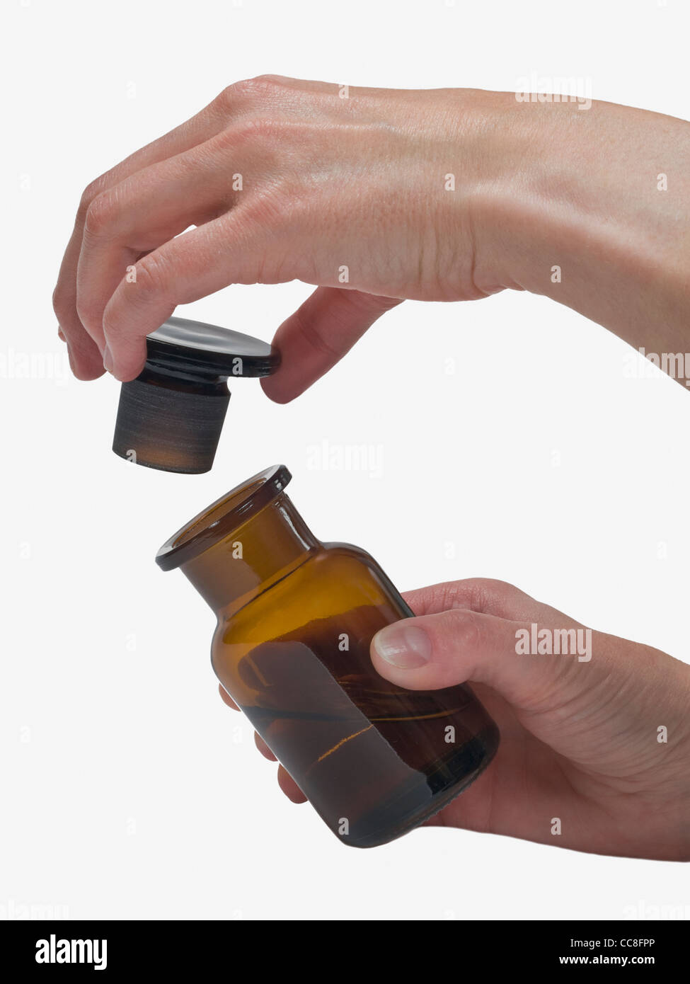 one pharmacists bottle is opened Stock Photo