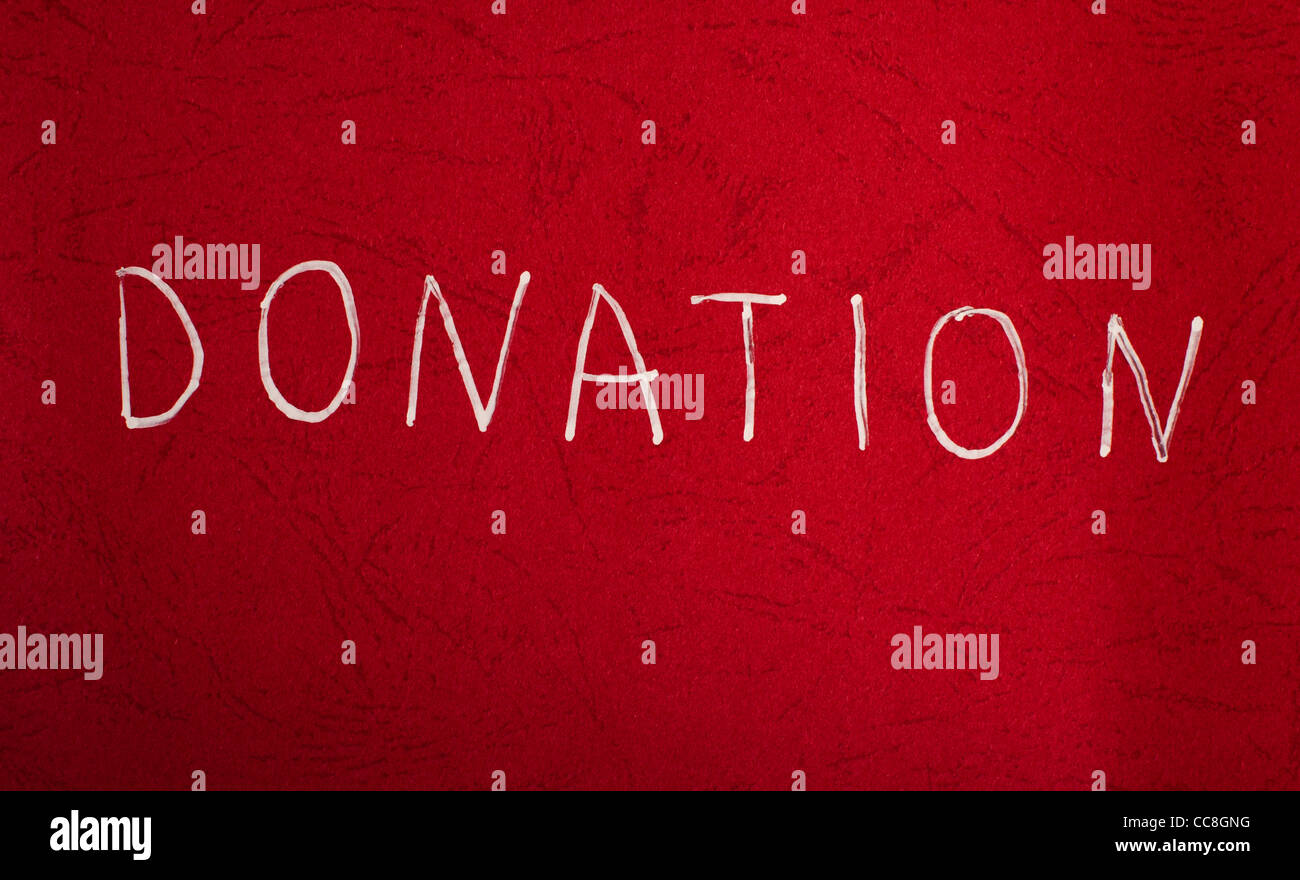 Blood Donation Concept. White text on red background - Stock Image