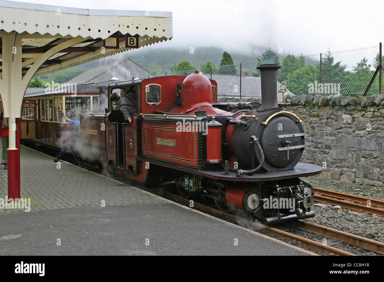 Ffestiniog Railway double-ended Fairlie locomotive David Lloyd George built in 1992 on train at Blaenau Ffestiniog - Stock Image