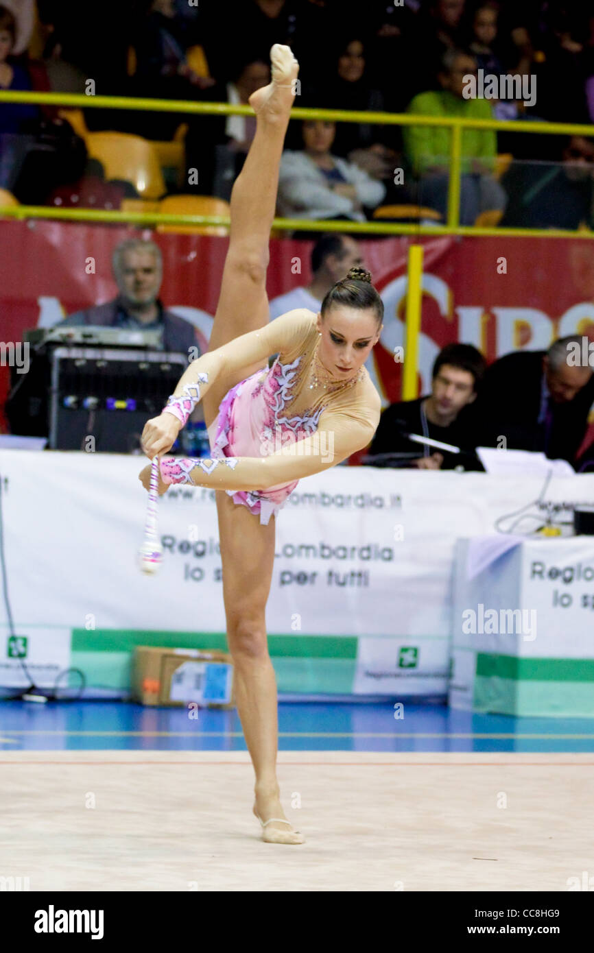 Delphine Ledoux of Raffaello Motto performing during the 2011 italian Serie A rhythmic gymnastic competition - Stock Image
