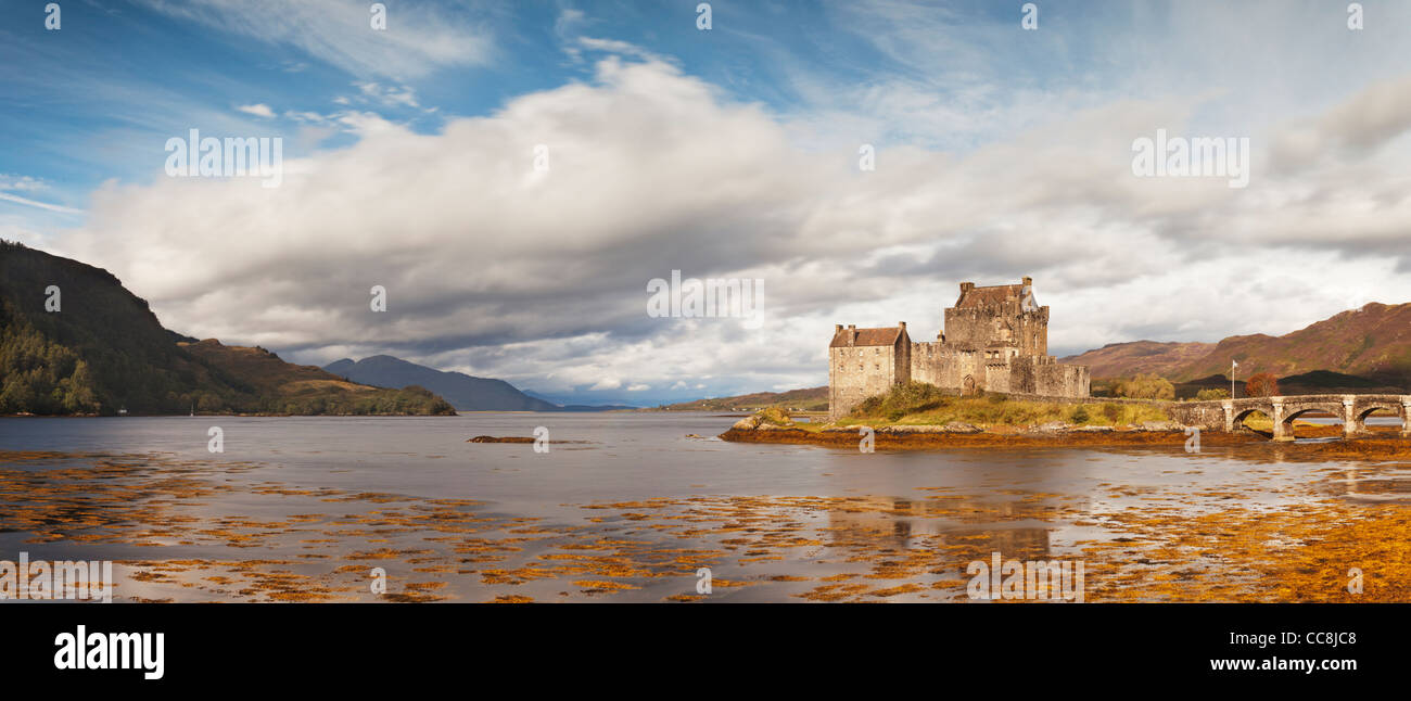 Eilean Donan Castle, Highland, Scotland, is situated on Loch Duich and is the home of Clan Macrae. - Stock Image