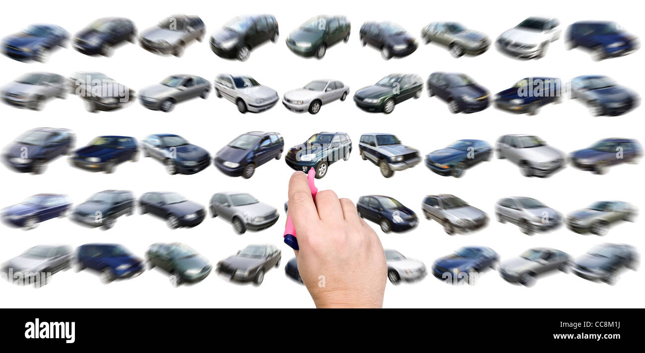 Man is choosing car from many different variants Stock Photo