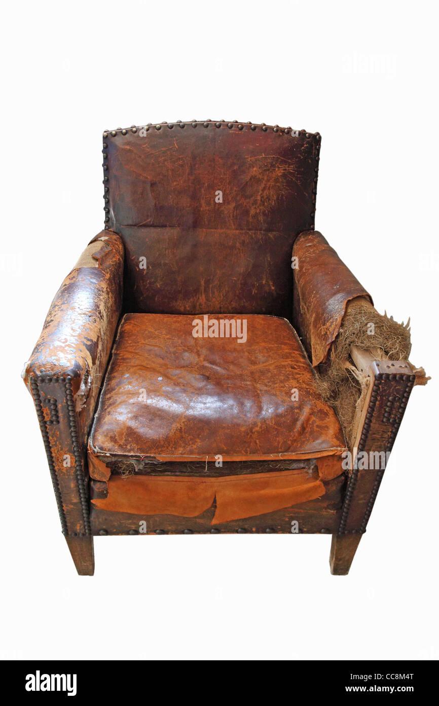 antique overused armchair - Stock Image