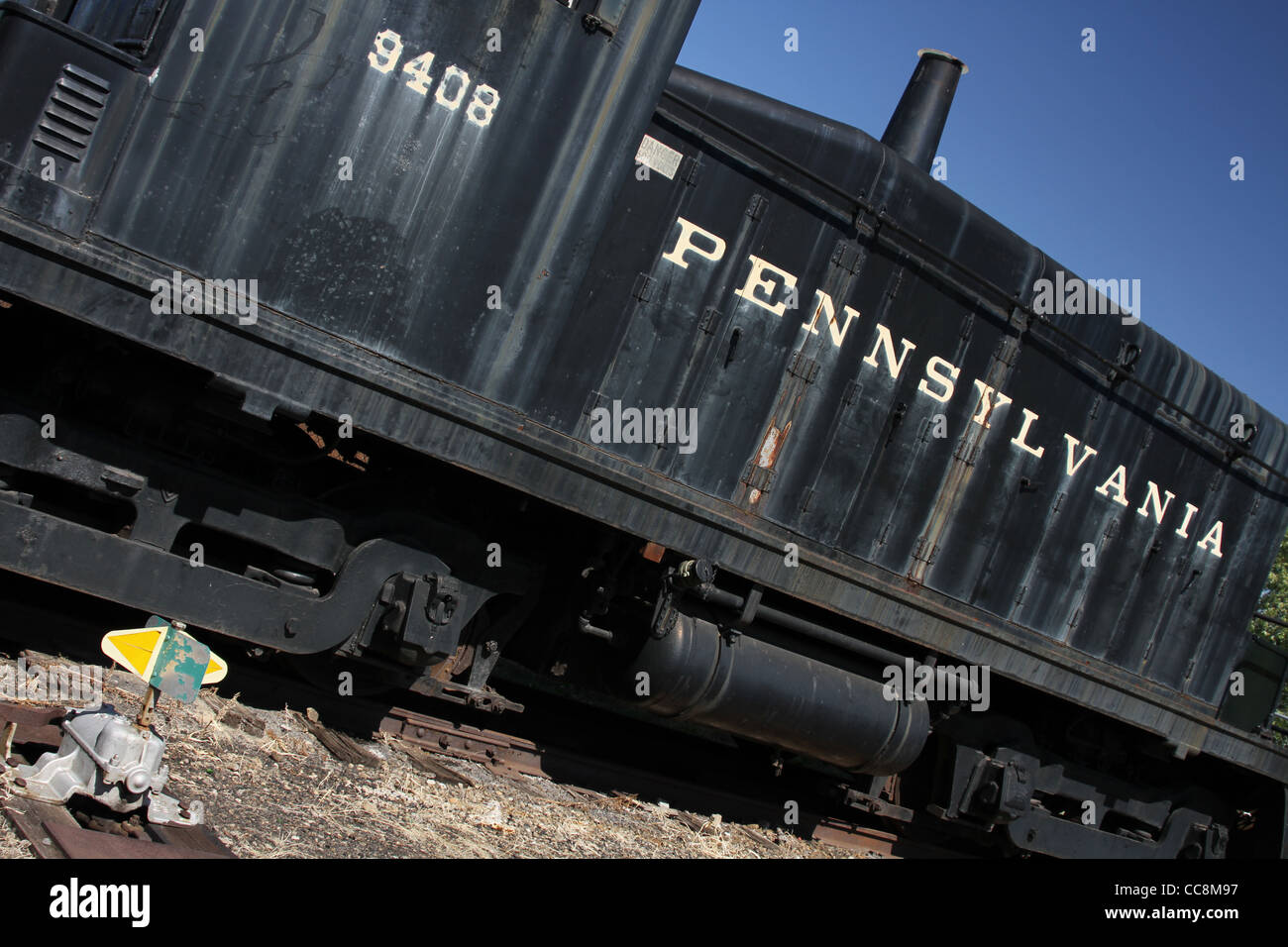 The word Pennsylvania. Pennsylvania Railroad 9408 locomotive. - Stock Image