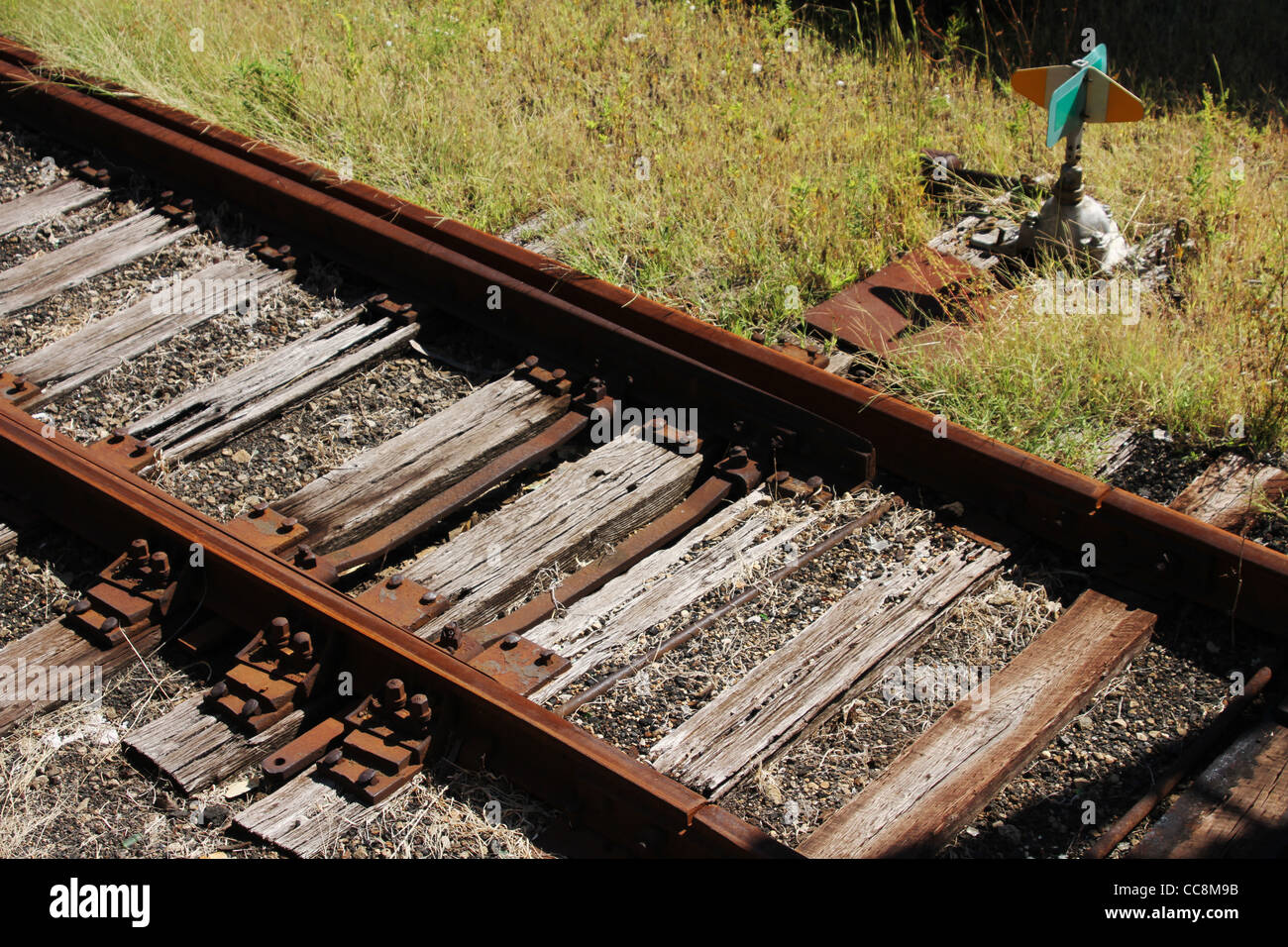 Railroad Track Switch. Mechanism to determine which set of track on which a train will run - Stock Image