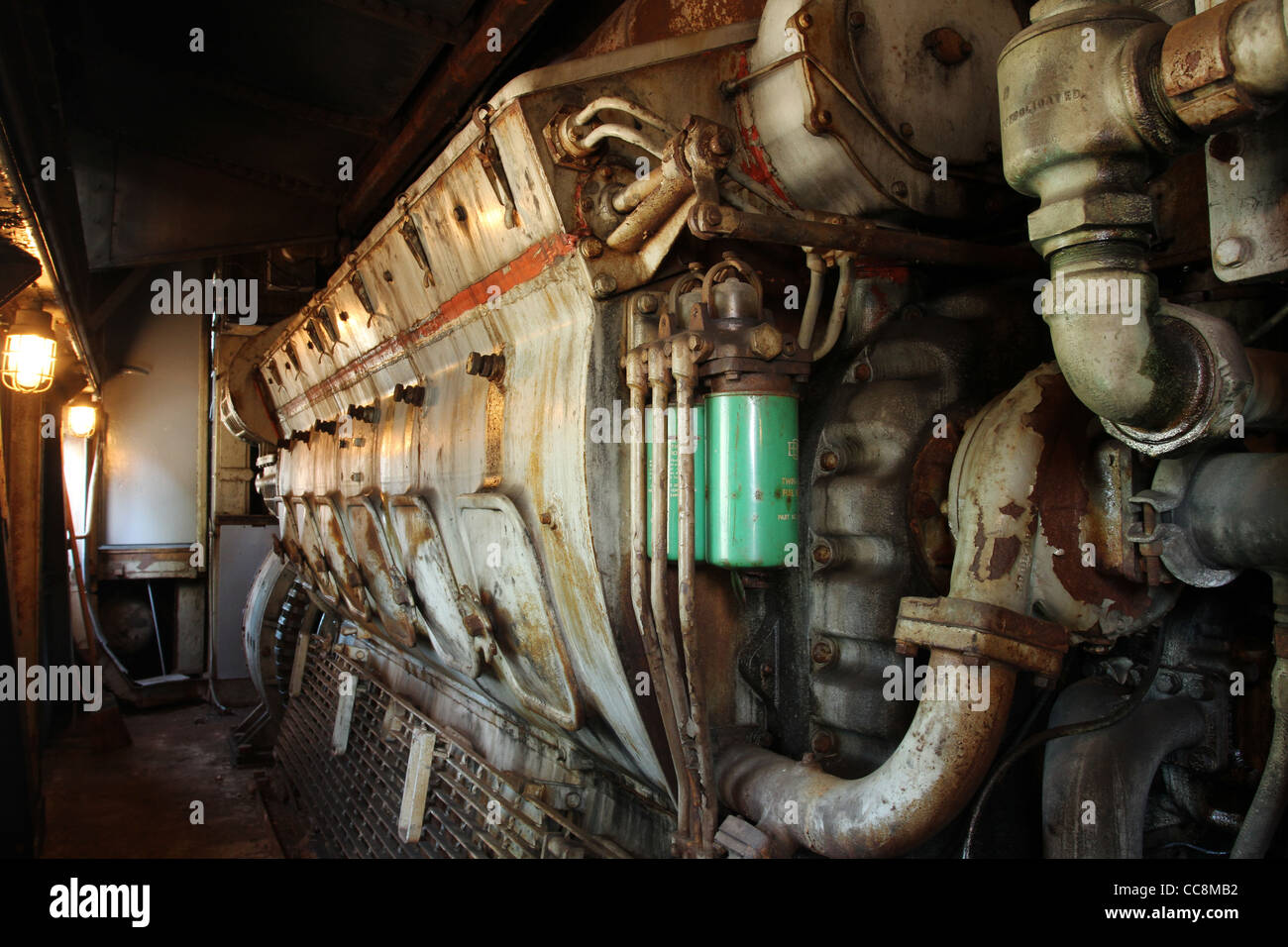 Locomotive Diesel Engine. Pennsylvania Railroad locomotive 5888. - Stock Image