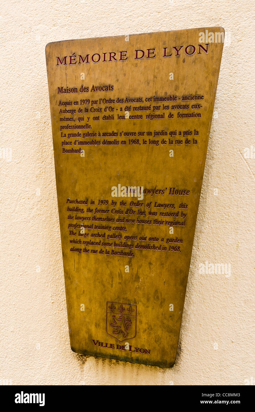 Plaque at the Lawyers House in old town Vieux Lyon, France (UNESCO ...