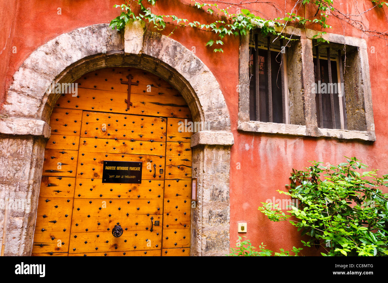 Courtyard at the Long Traboule in old town Vieux Lyon, France (UNESCO World Heritage Site) - Stock Image