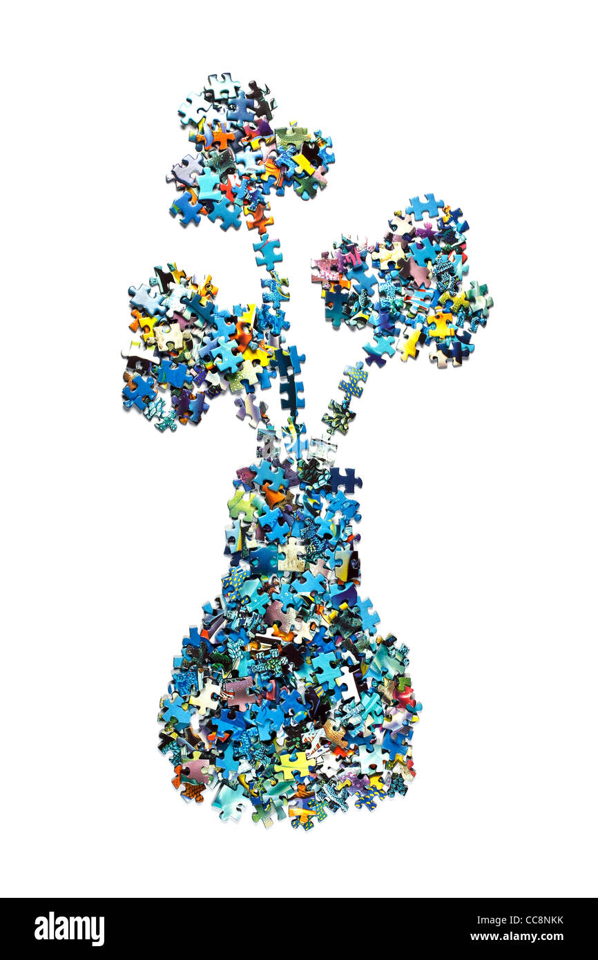 vase made from the puzzle , isolated - Stock Image