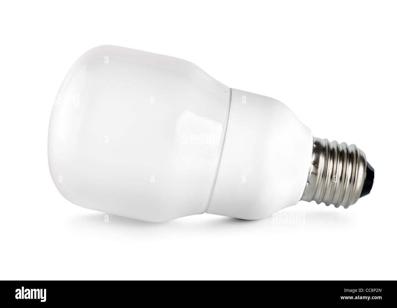 Energy saving compact fluorescent lightbulb isolated on white background - Stock Image