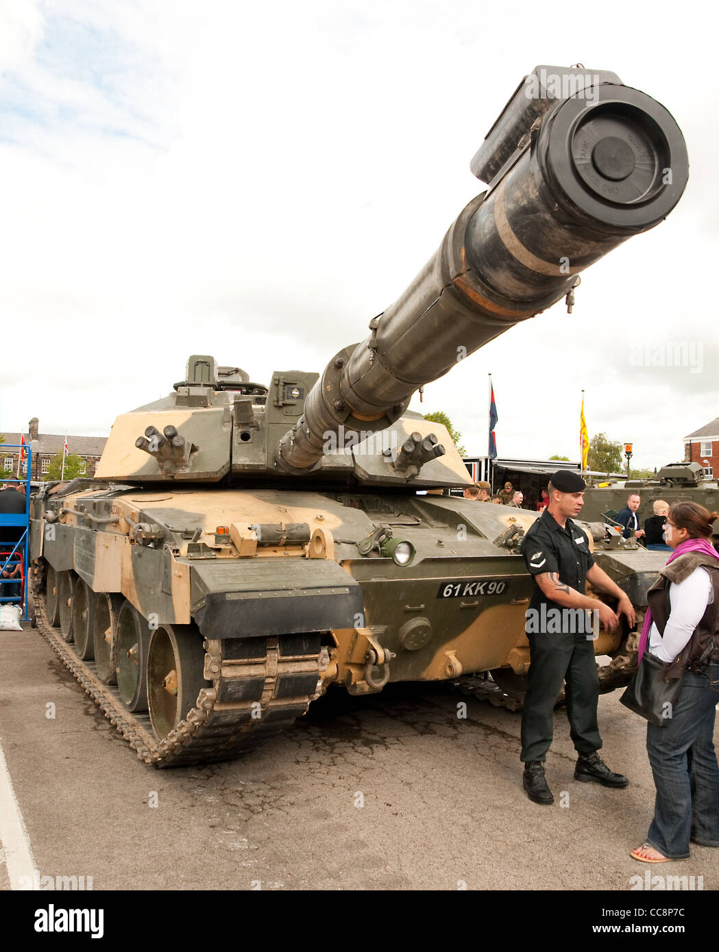 A British Army Challenger II main battle tank on display at a public open day at Fulwood Barracks, Preston, Lancashire - Stock Image