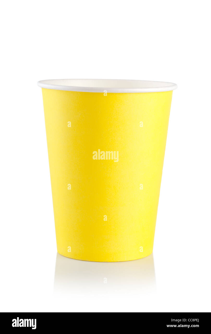 Yellow disposable cup isolated on a white background Stock Photo