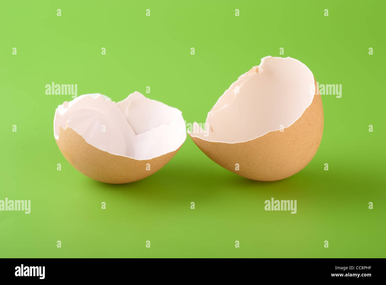 Two pieces of brown egg shell on a green background - Stock Image
