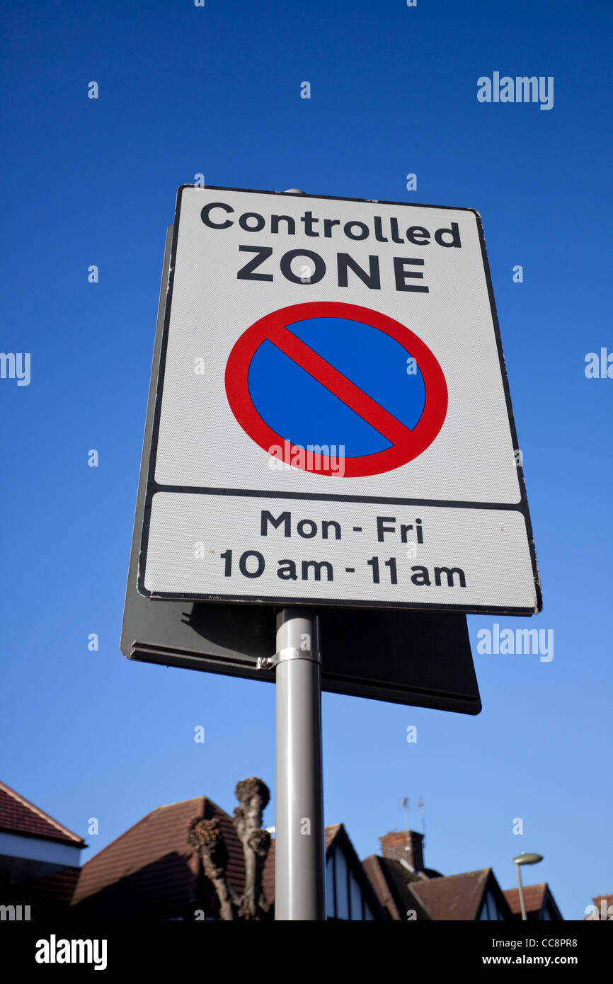 Controlled zone, no parking sign, England, UK - Stock Image