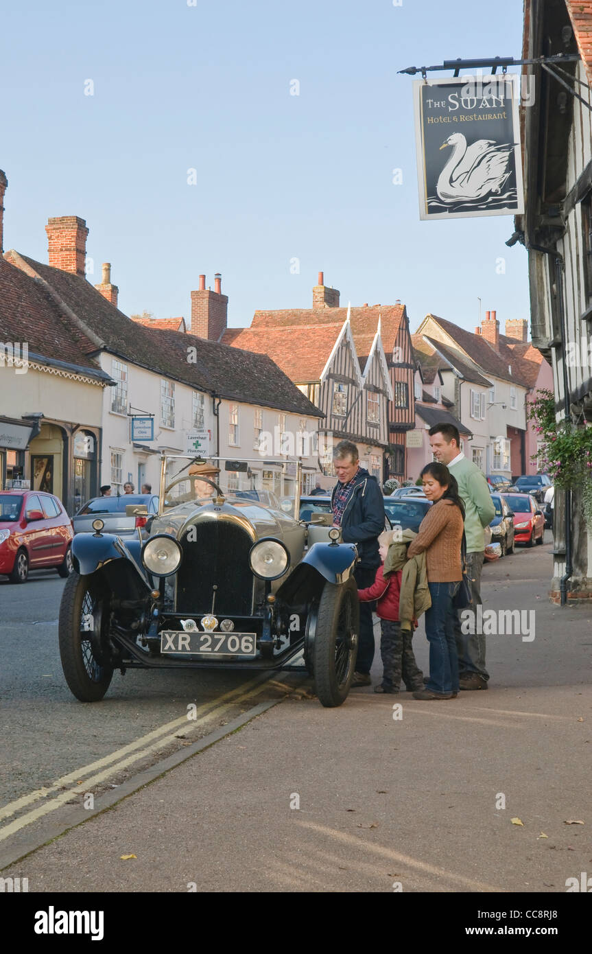 Classic vintage Bentley car parking in the front of Swan Hotel in Lavenham, Suffolk, UK. - Stock Image