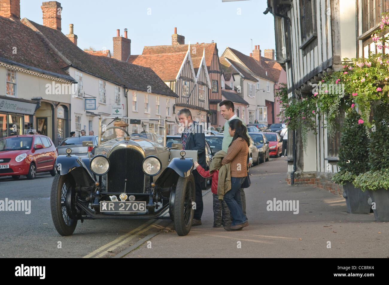 Classic vintage Bentley parking in the front of Swan Hotel in Lavenham, Suffolk, UK. - Stock Image
