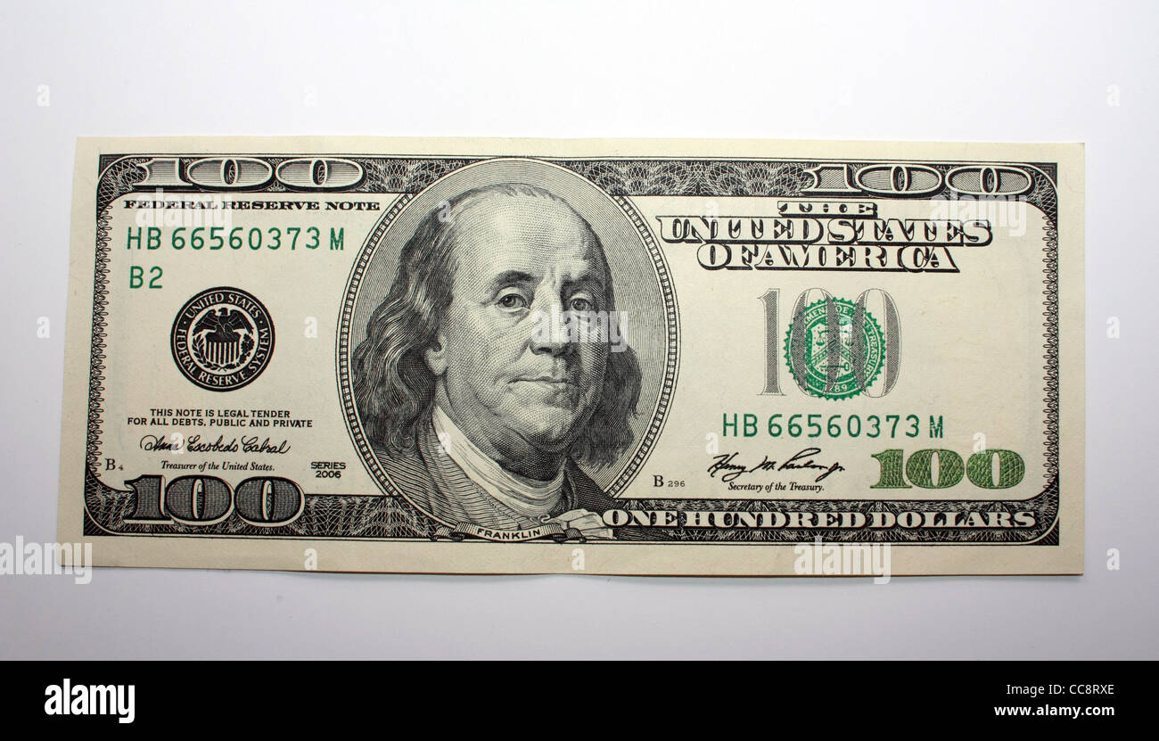 U.S currency Dollars bill arranged in order - Stock Image