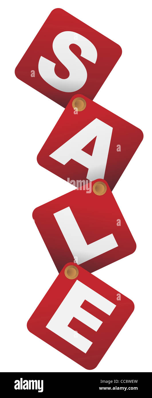 Sale Sign - White Letters on Red Background Connected With Jeans Fasteners - Stock Image