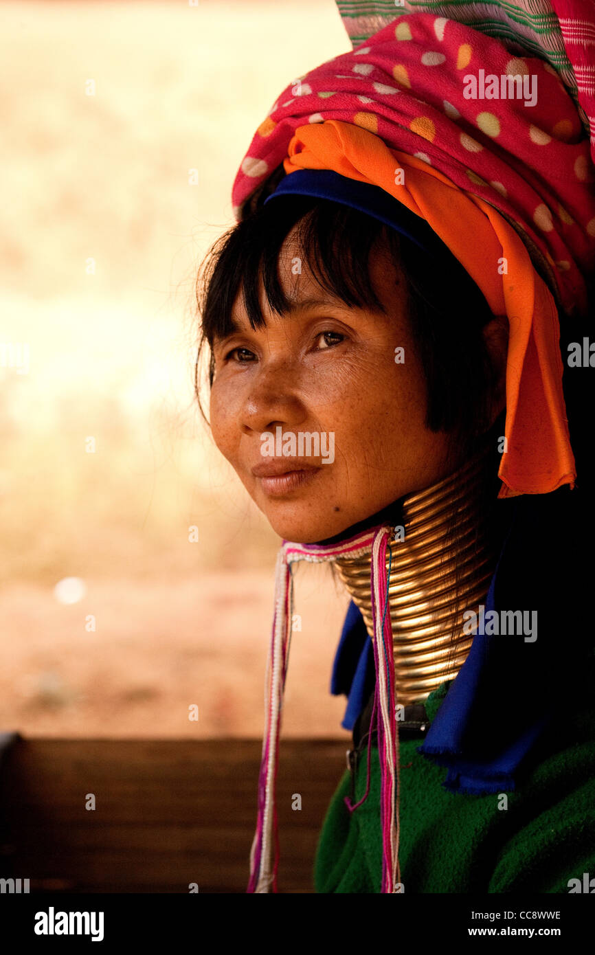 Woman of the Padaung hilltribe - Stock Image