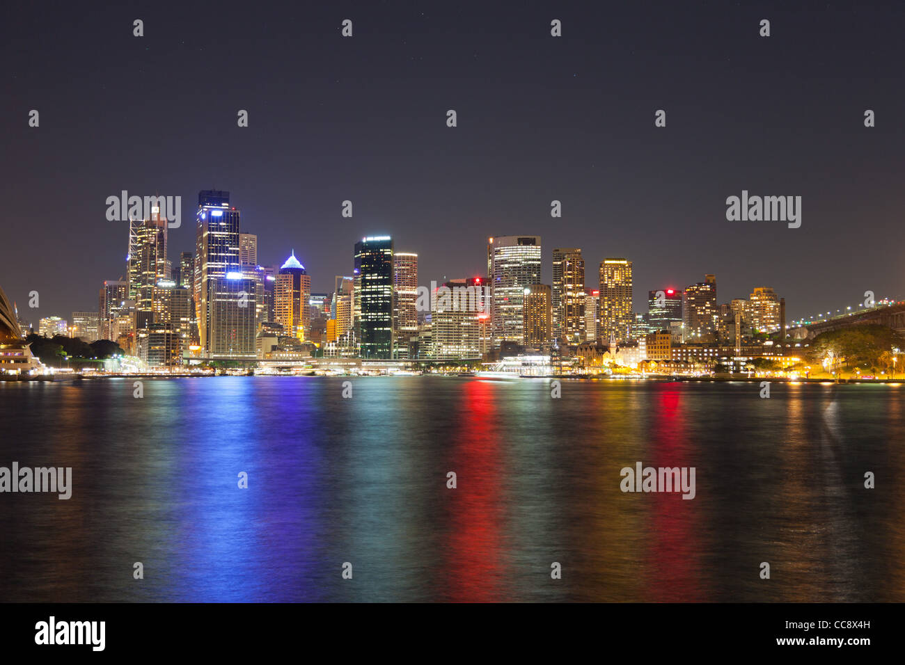 Sydney city skyline from Kirribilli  at night - Stock Image